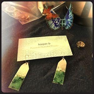 Green glass enamel and FINE silver earrings